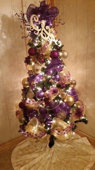 Purple and gold christmas tree #LSU - Purple And Gold Christmas Tree #LSU Christmas Trees Pinterest