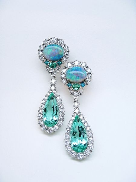 Opal Diamond And Blue Tourmaline Earrings By Featherstone Designs