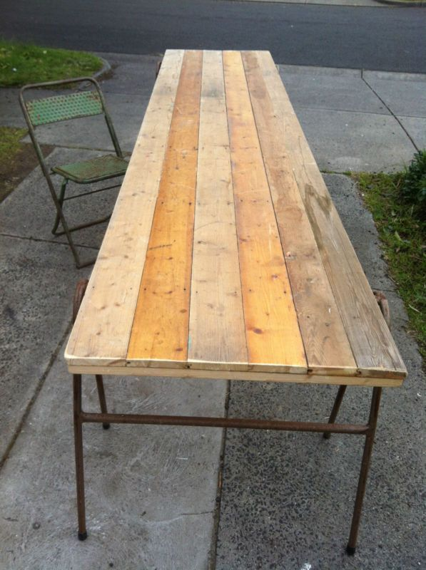 vintage INDUSTRIAL DINNING trestle table Baltic pine | eBay | House ...