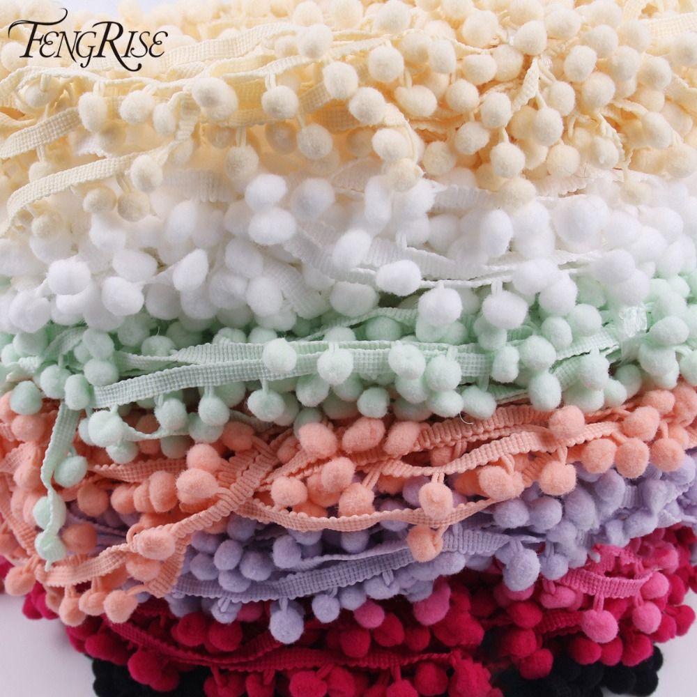 FENGRISE Tessuto di Pizzo 5 yard 1 cm Cucito Accessori Pompon Assetto Pom Pom Decorazione Palla Nappa Fringe Ribbon Materiale di DIY abbigliamento
