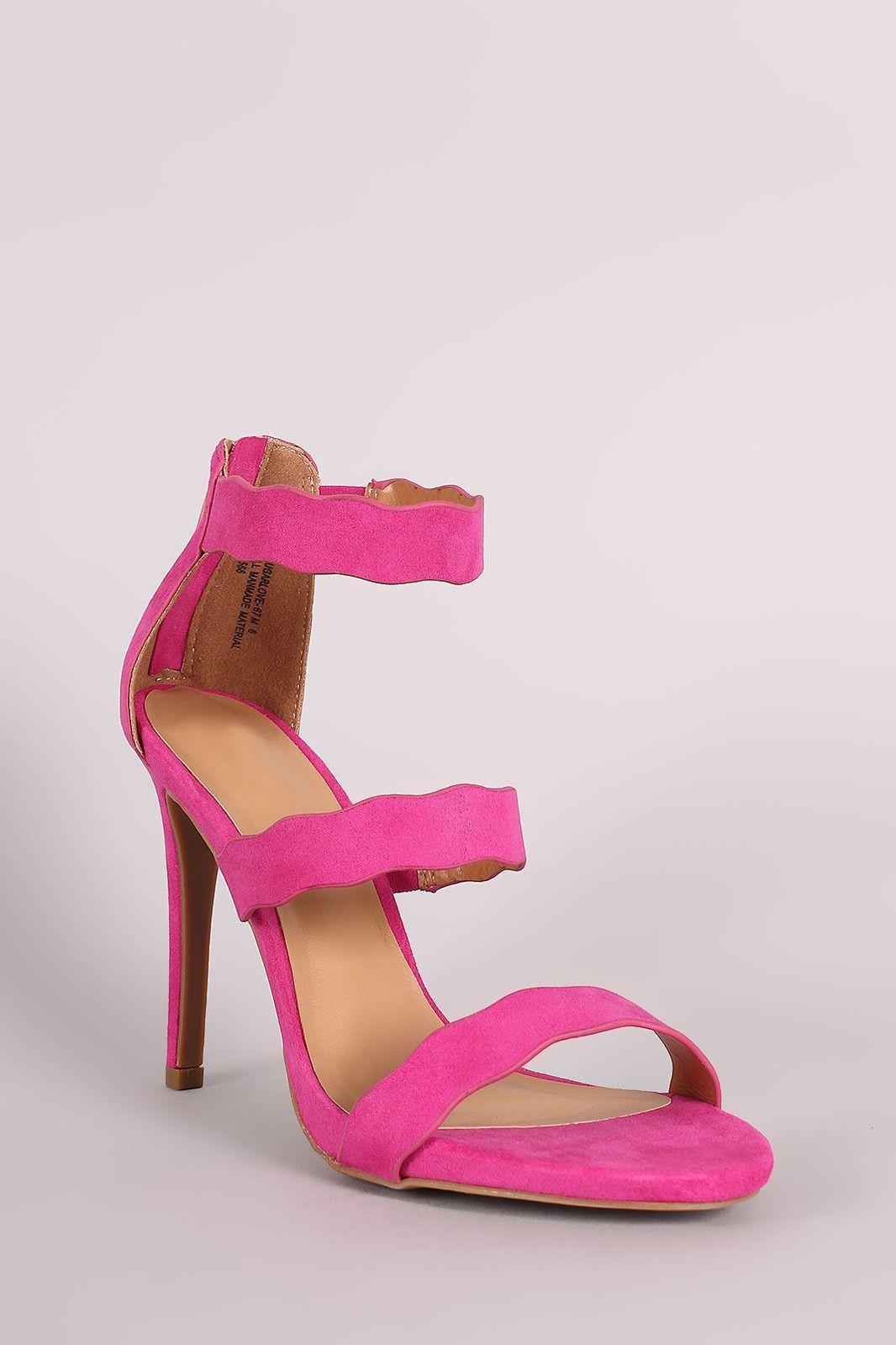 3b7ab963f59e70 Suede Triple Scalloped Straps Stiletto Heel