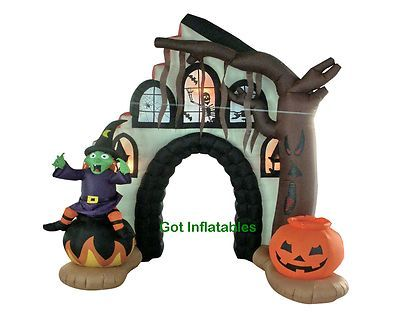 Party Halloween Inflatable Witch Archway Pumpkin Yard Outdoor - halloween inflatable decorations