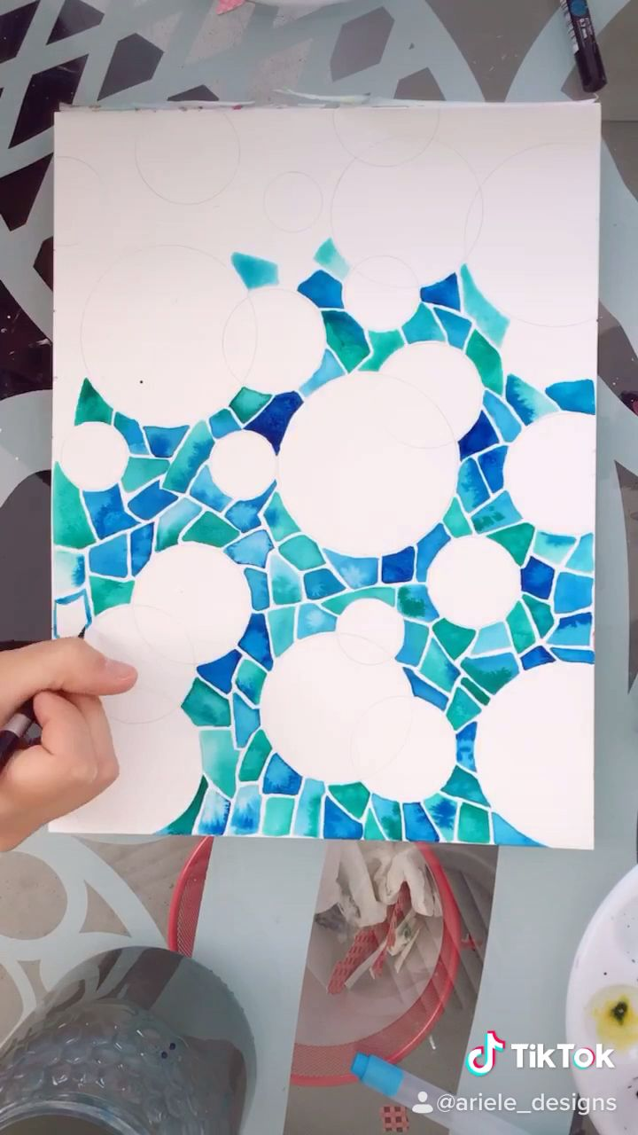 Easy watercolor mosaic painting