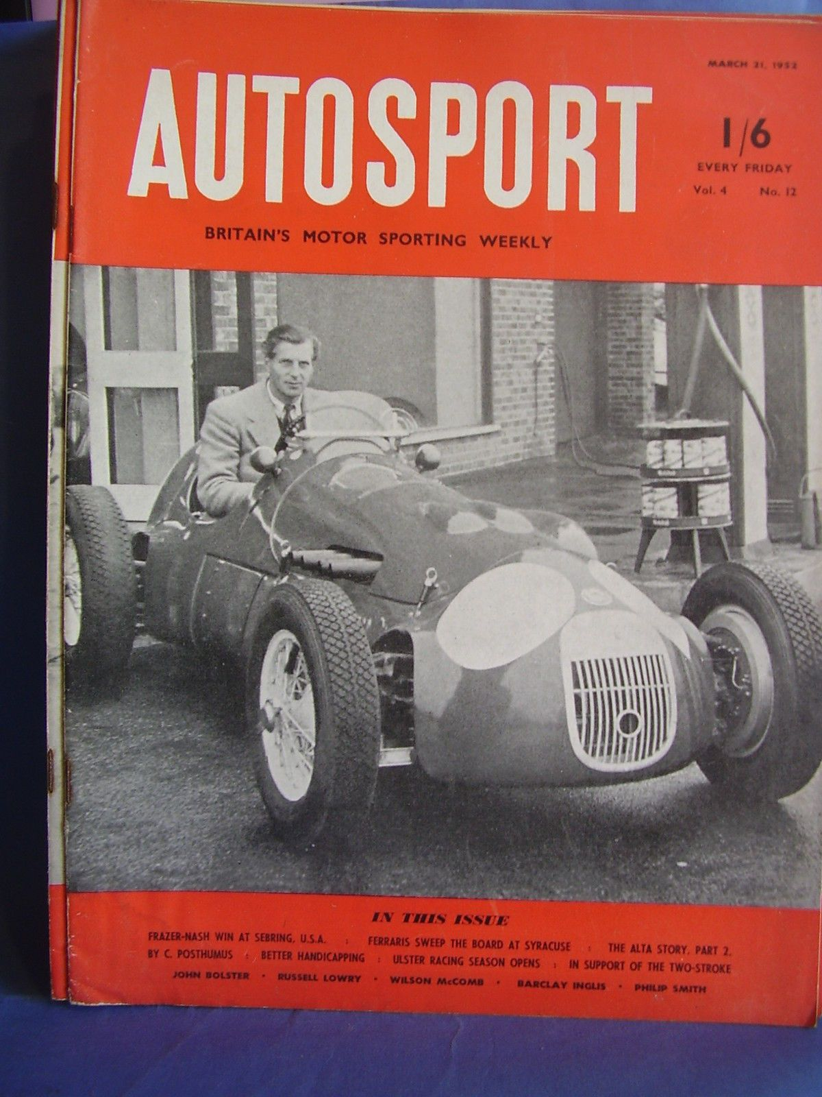 AUTOSPORT CAR MARCH 21 1952 JOHN HEATH HWM FRAZER NASH SEBRING ALTA ULSTER