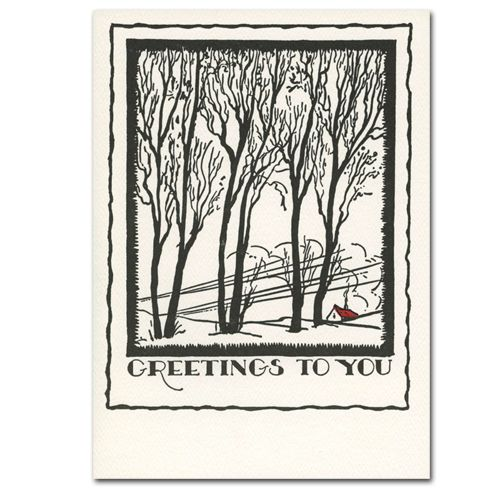 Saturn Press Holiday Card Winter Trees Letterpress Christmas Cards Letterpress Holiday Letterpress Holiday Cards