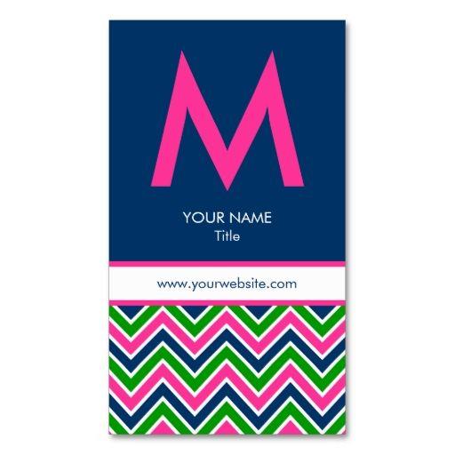 preppy monogram chevron business card pinknavy business cards card templates and business - Chevron Business Card