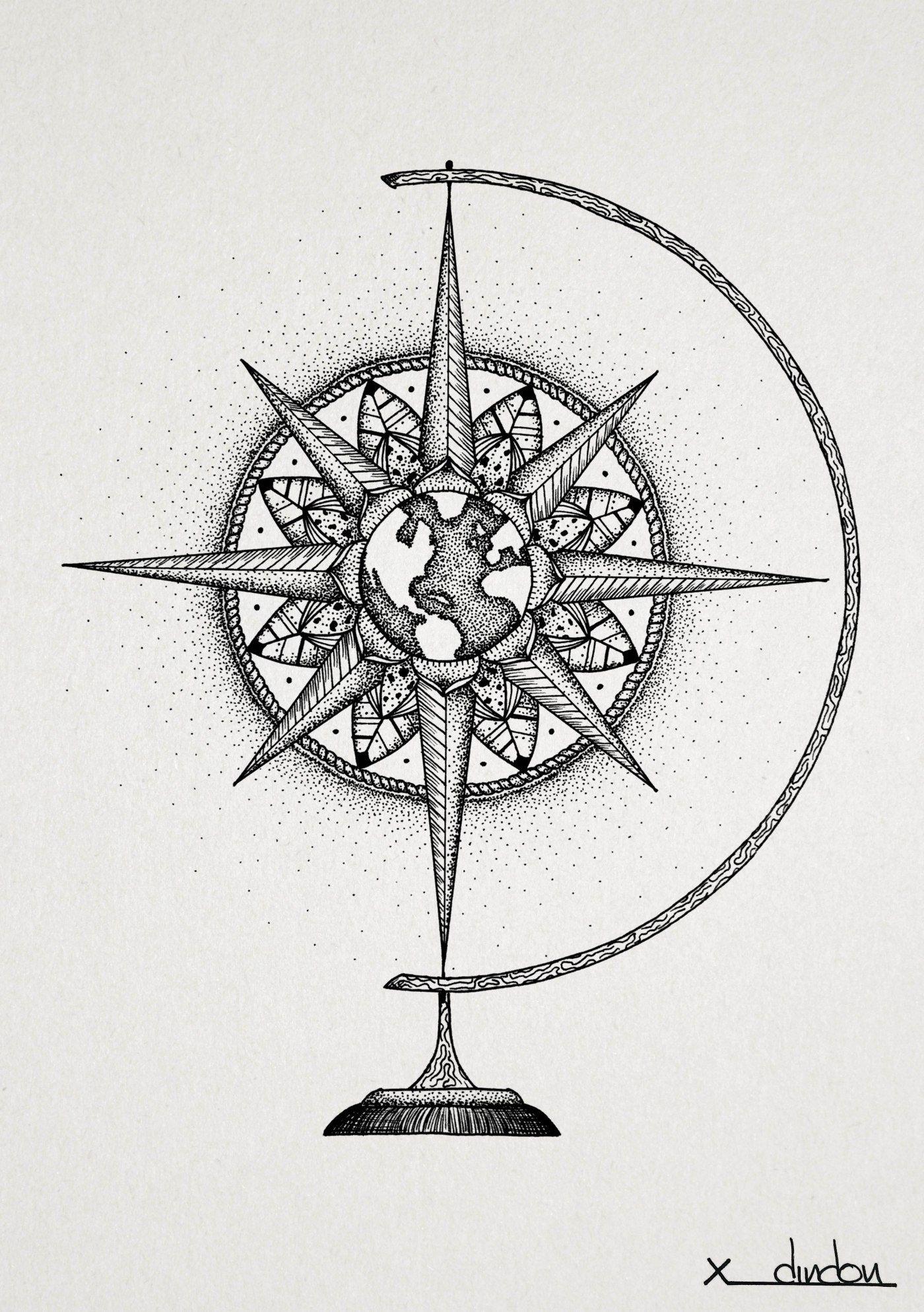compass globe compas rose des vents tatouages. Black Bedroom Furniture Sets. Home Design Ideas
