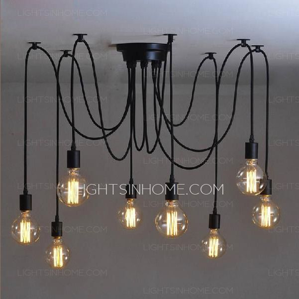 Creative 8 Light Pendant Lights Over Bar Black Wrought Iron