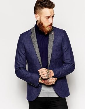 Noose & Monkey Woven In England Puppytooth Blazer With Contrast Lapel In Skinny Fit