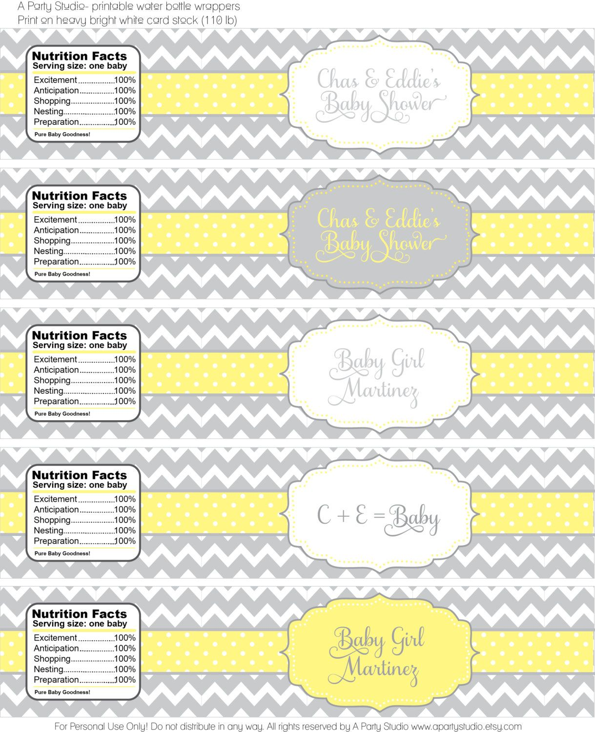 chevron baby shower in yellow and grey by apartystudio on etsy rh pinterest com
