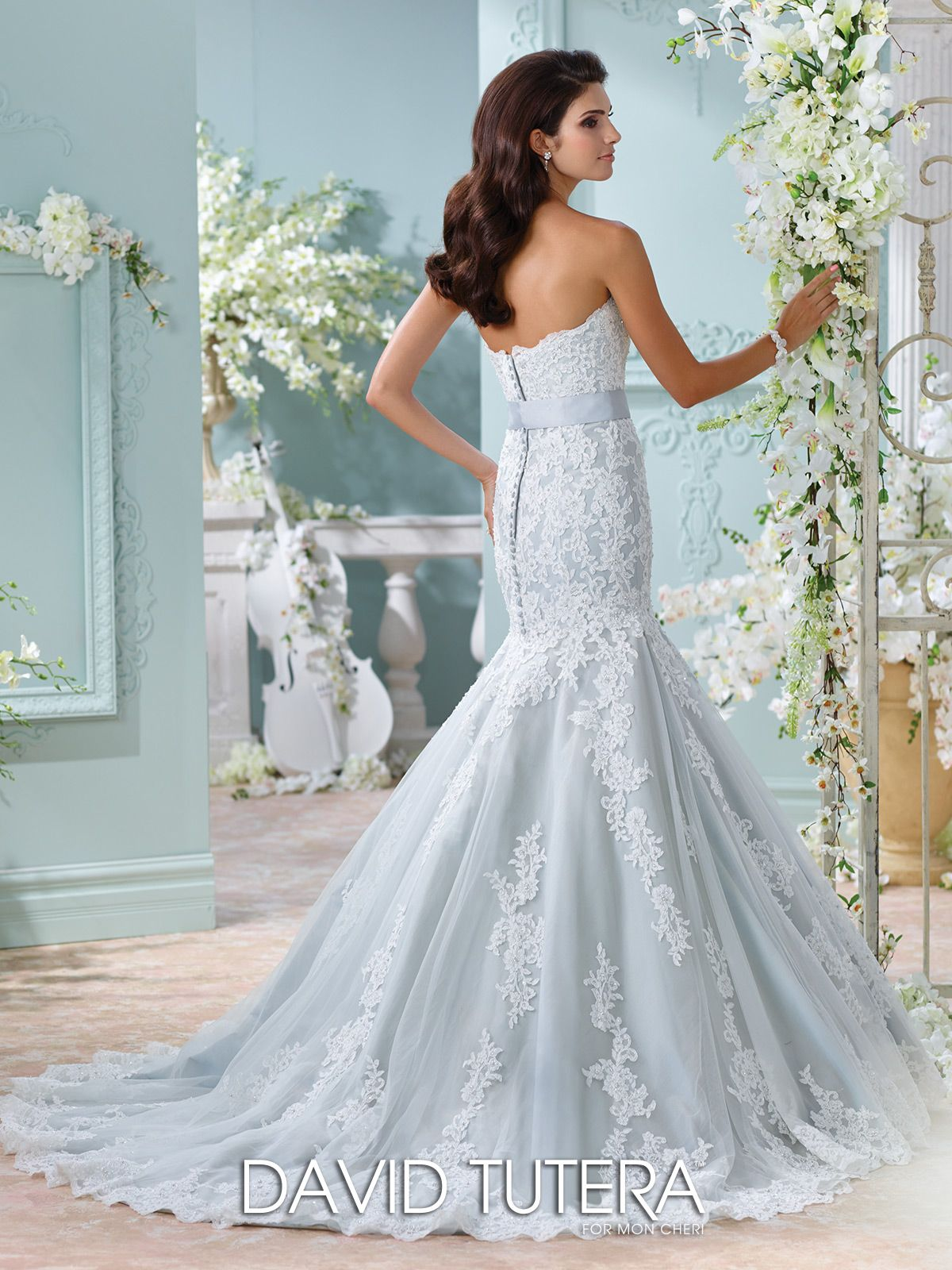 Strapless blue trumpet wedding dress 116225 thea david tutera david tutera for mon cheri 116225 thea strapless blue wedding dress tulle ombrellifo Images