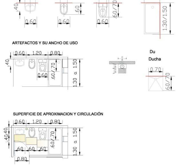 Medidas Mínimas De Un Baño Y Sus Componentes Floor Plans Diagram