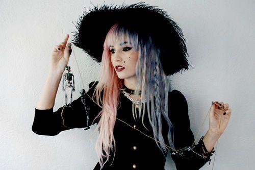 half pink half lavender hair