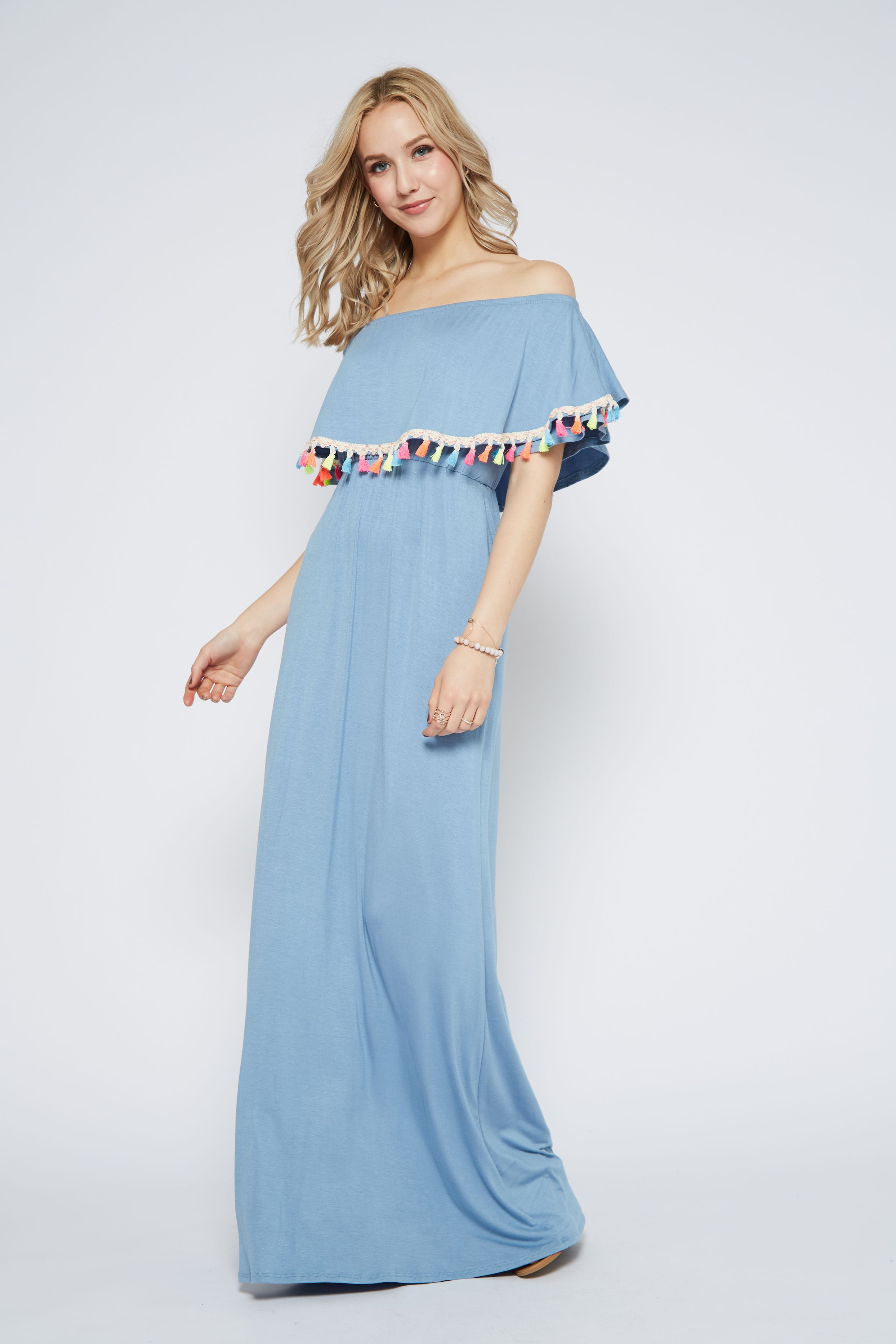 4b587472dceaa $42 Pom Trim Off Shoulder Dress | Maxi Dresses | Dresses, Off the ...