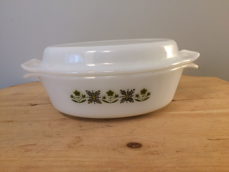 vintage fire king swirl casserole with lid
