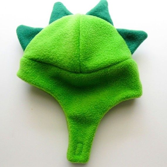 Dino hat with chin strap (green and green), based on tutorial at ...