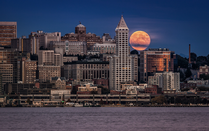 Download Wallpapers Seattle Embankment Full Moon Cityscapes Usa America Besthqwallpapers Com Seattle Wallpaper Seattle Incredible Places