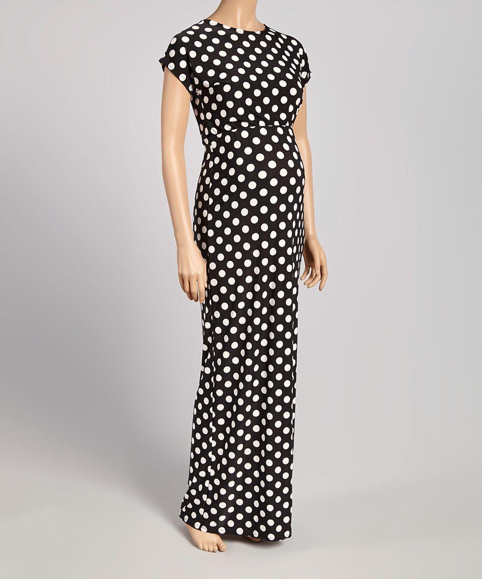 Hot pink maternity maxi dress  Black Dot CapSleeve Maternity Maxi Dress by GLAM  Maternity
