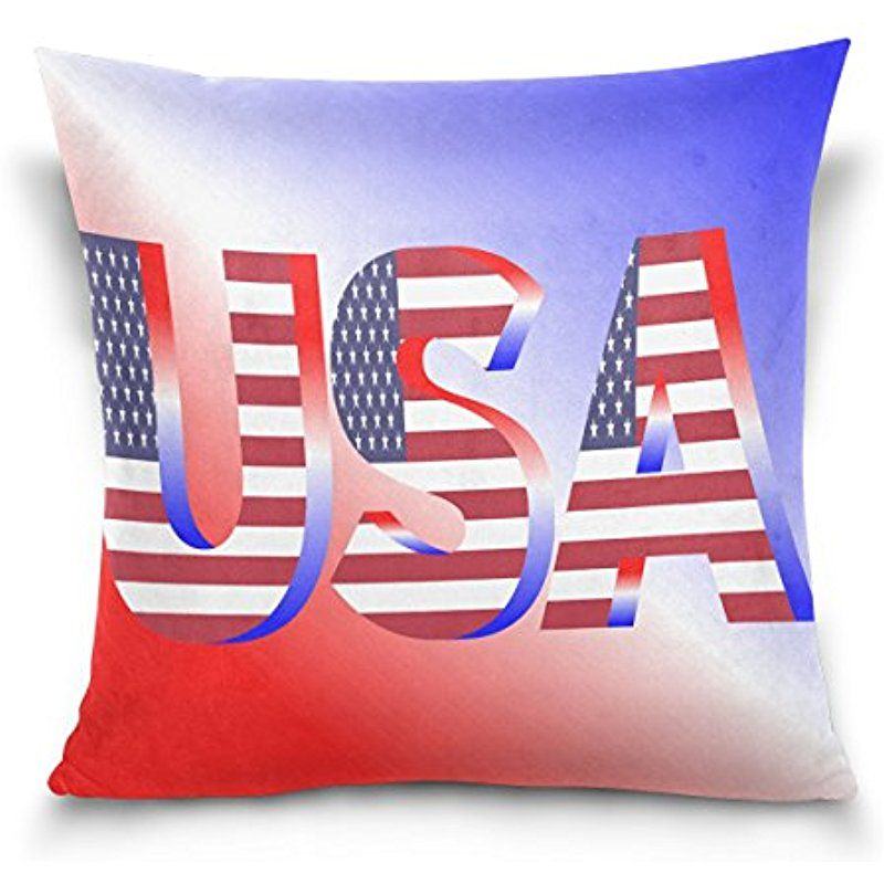 Donnapink Throw Pillow Case American Flag Us Flag Square Zippered Cushion Cover 16 X16 Decorative Cotton Cotton Pillow Cases Throw Pillow Cases Cushion Cover