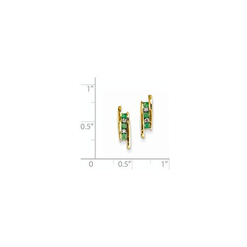 14k Yellow Gold 07IN Long Diamond  Emerald Post Earrings -- Learn more by visiting the image link.