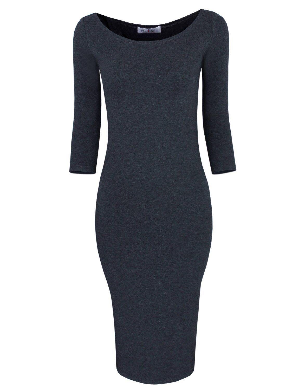 Tom's Ware Womens Classic Slim Fit Bodycon Midi Dress TWFR049-D059-CHARCOAL-XS/S