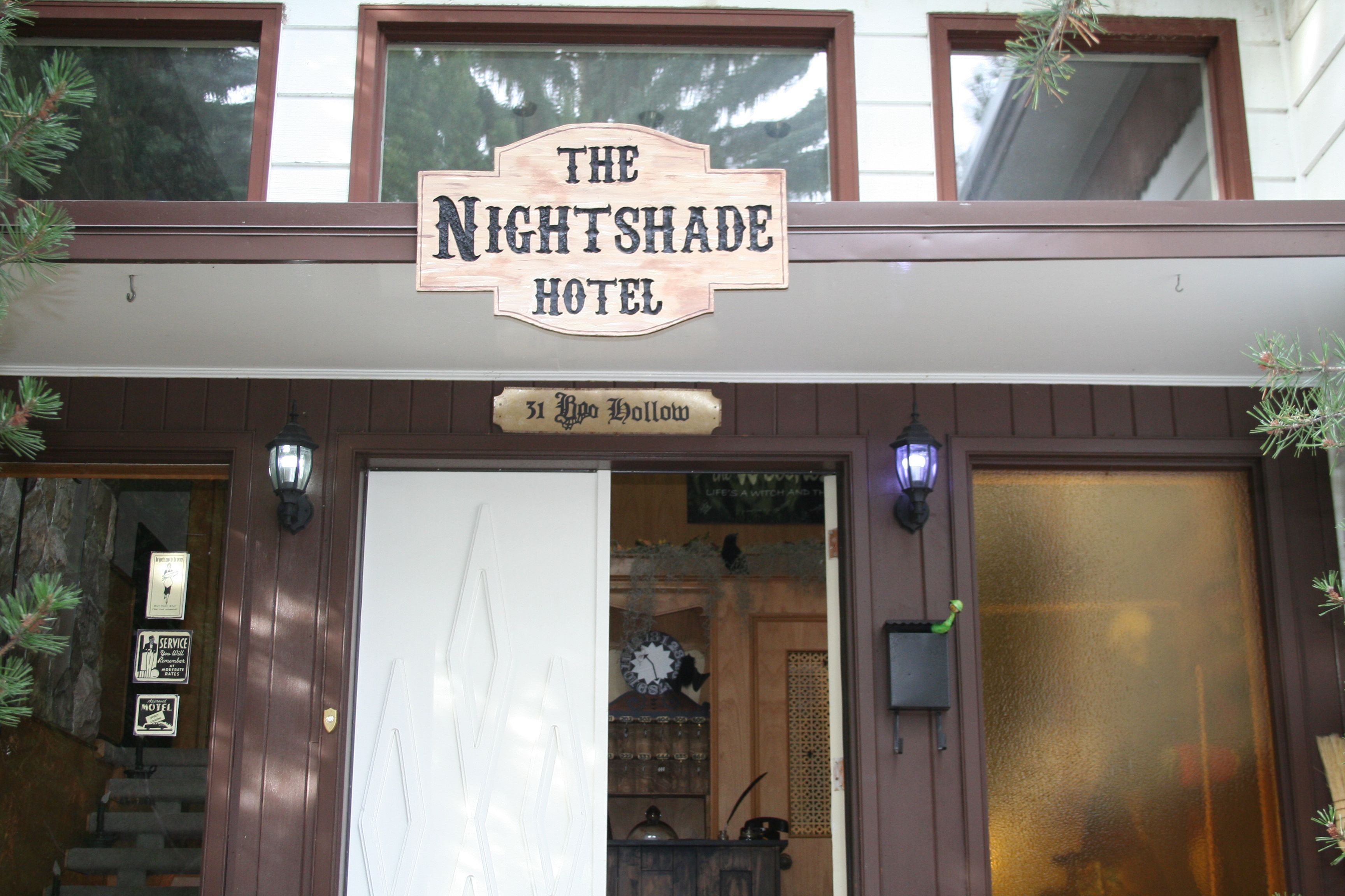 Night Shade Hotel . Sign And Entrance Haunted