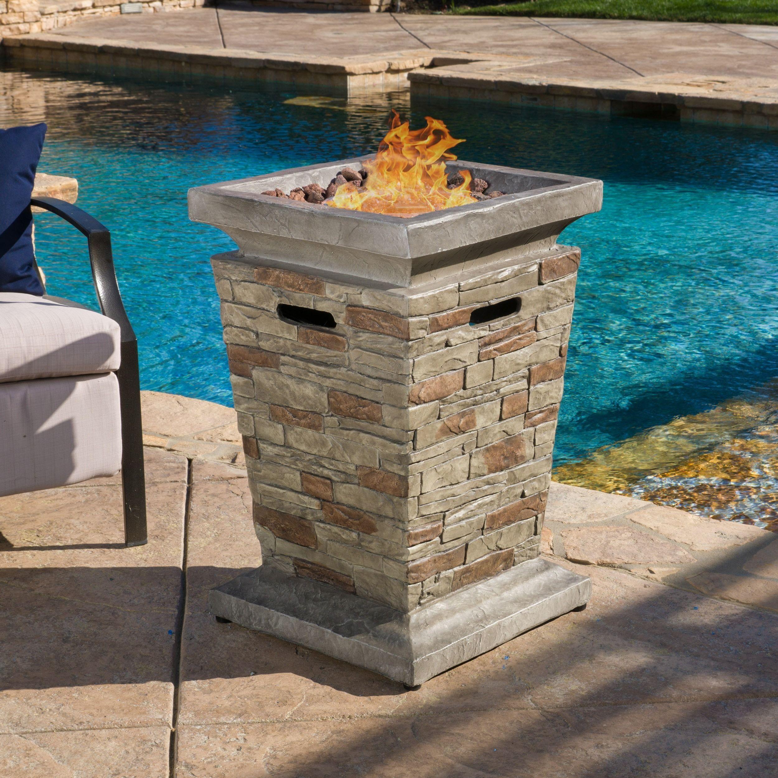 Christopher knight home laguna outdoor inch column propane fire