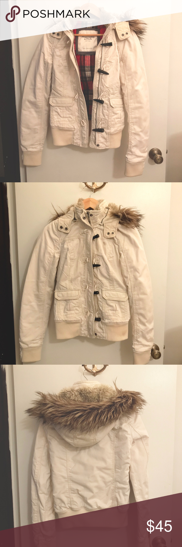 Flannel jacket with fur inside  Abercrombie u Fitch Fur Winter Coat  Cream coat Red flannel and