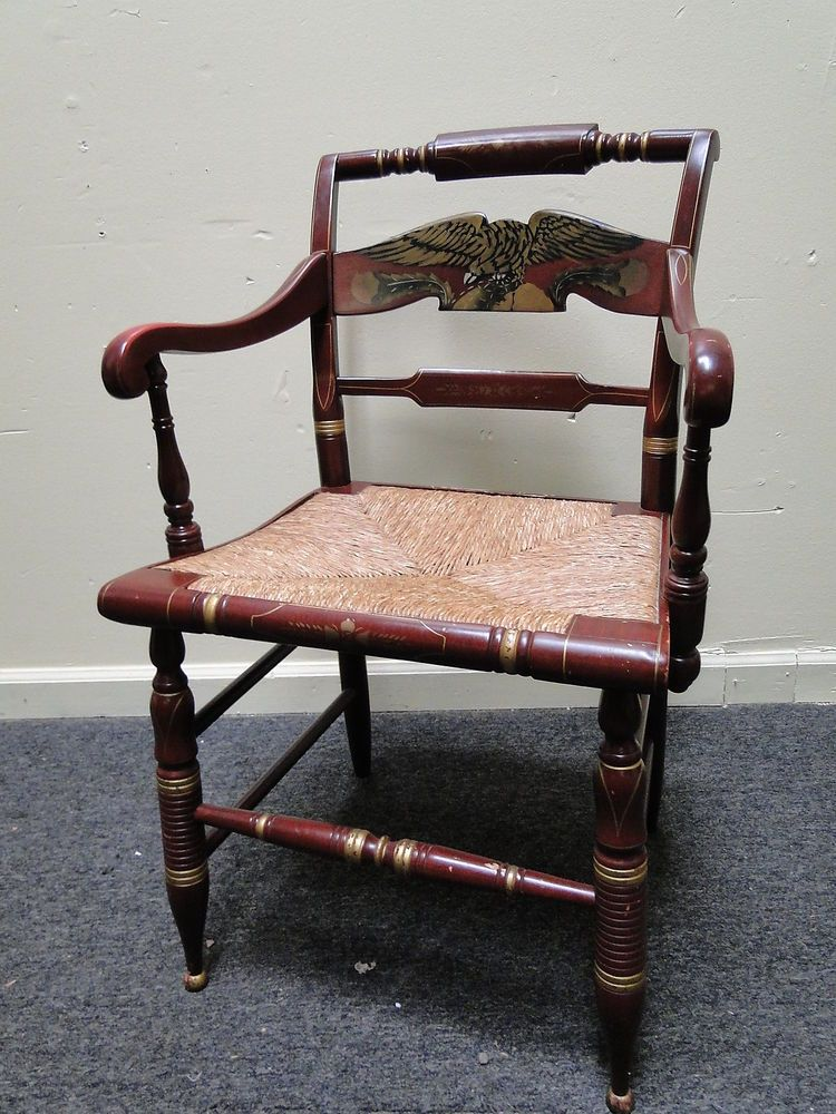 Ethan Allen Rush Seat Hitchcock Arm Chair Stenciled Eagle