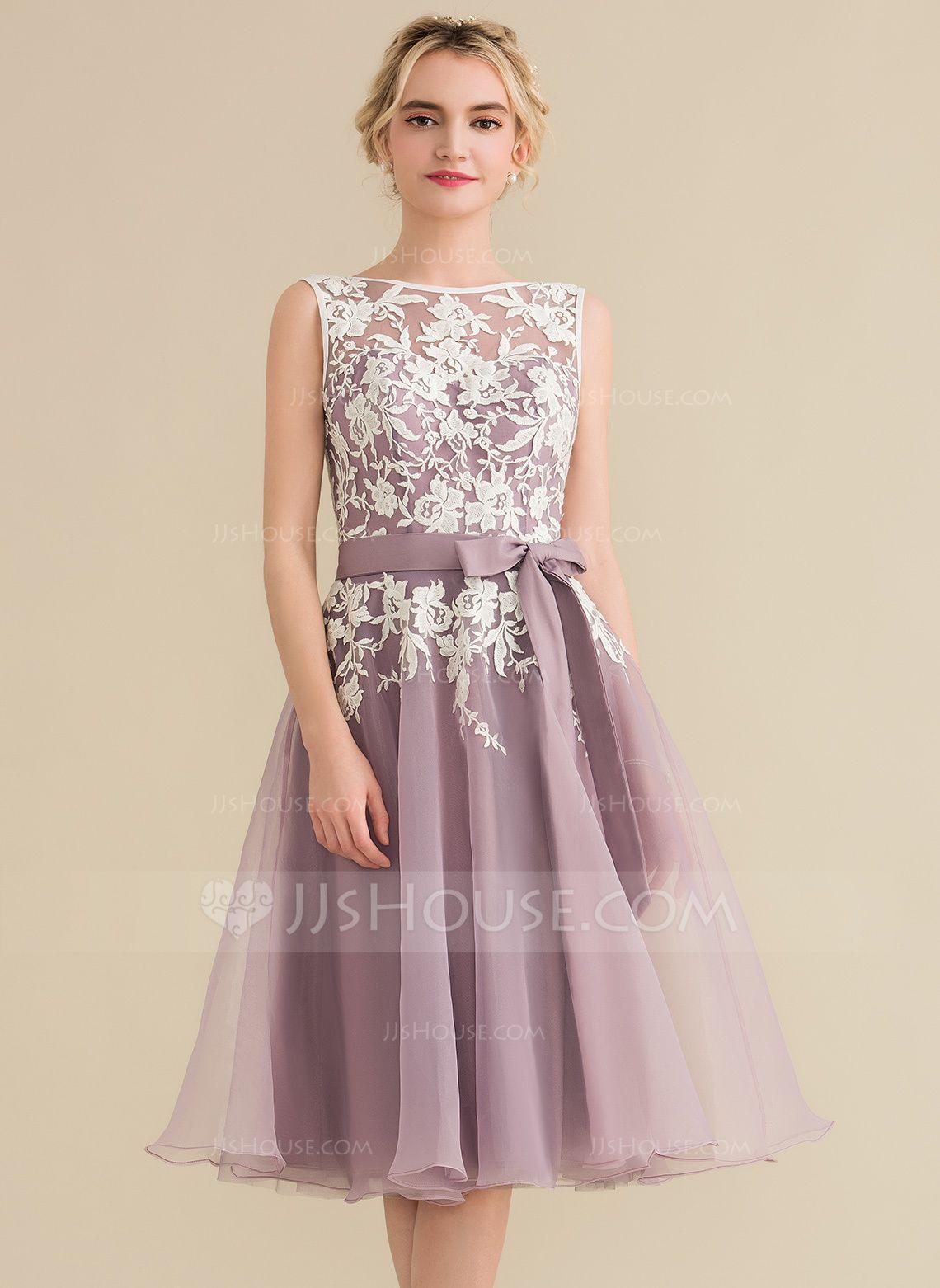 ALinePrincess Scoop Neck KneeLength Organza Lace Bridesmaid Dress