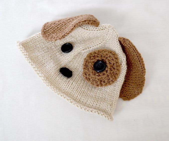 Cutest ever Baby Puppy Hat, Beige and brown beanie hat, photo props, newborn knit crochet hat, baby boy, baby girl. $23.00, via Etsy.