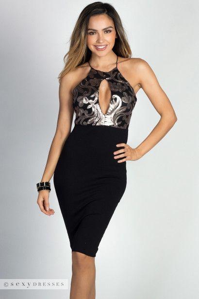 """Charisma"" Black & Bronze Floral Sequin Bodice High Neck Halter Dress"