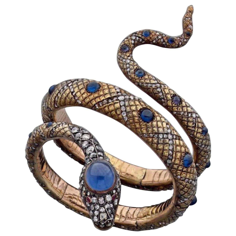 19th Century Sapphire Diamond Gold Snake Bracelet Snake bracelet