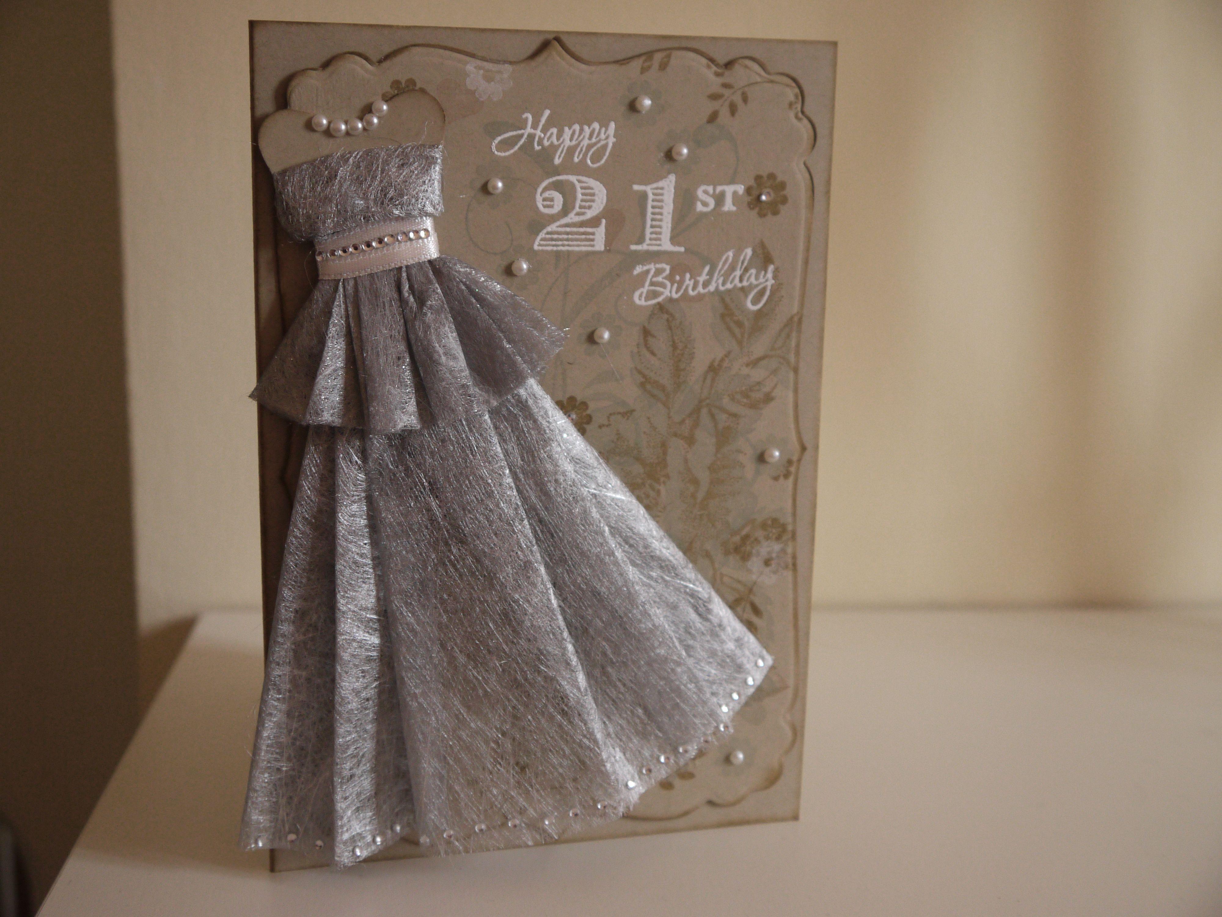 21st Birthday Card Making Ideas Part - 38: Girly 21st Birthday Card, Elegant Dress Form