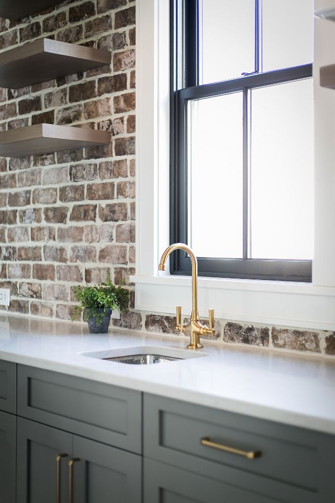 Newportbrassfaucet Brick Wall Kitchen Interior Design Kitchen
