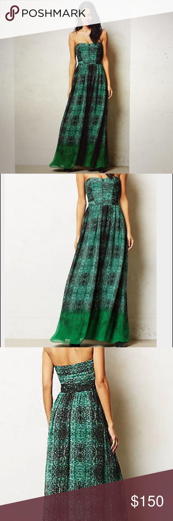 88f2414b7dde Anthropologie Vernalis MaxiDress Moulinette Souers Anthropologie Vernalis  Maxi Dress Size 2 petite, Green Snake Print