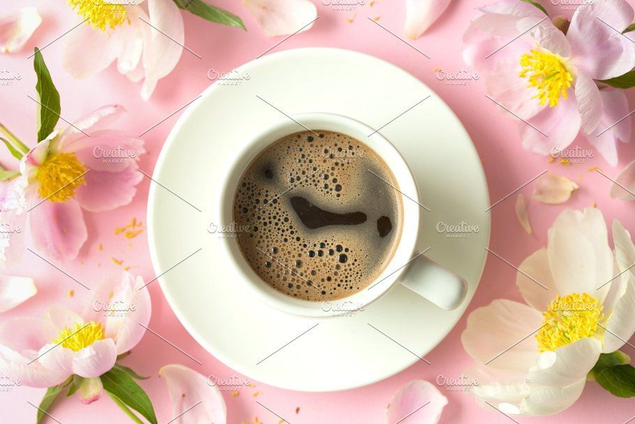 Spring Or Summer Morning Concept Flat Lay Of Coffee And Flowers