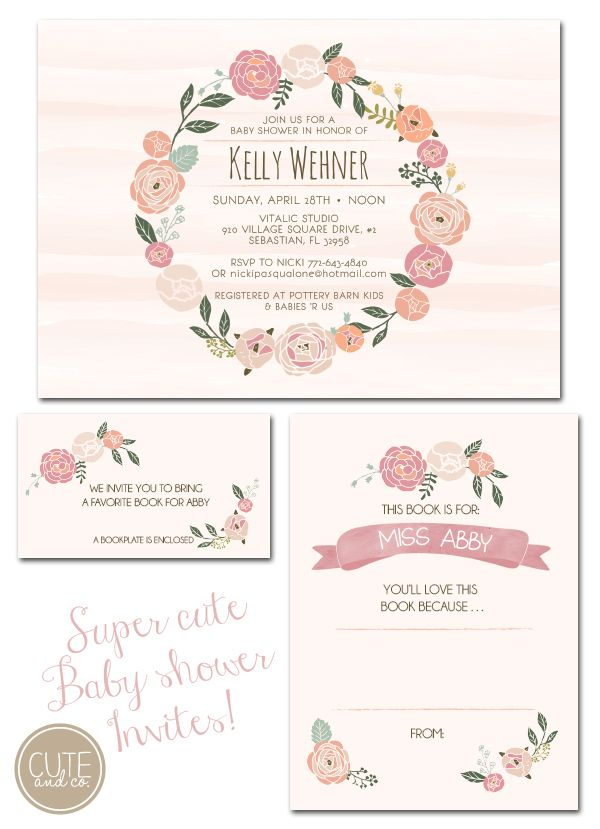 baby shower invites, floral invitations, watercolor invitations, Baby shower invitations