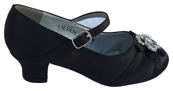 e46c0bf7659 ... χρήστη E-shop memoirs. Σατέν Παιδικά Παπούτσια Για Κορίτσια, Γόβες με  Τακούνια Για Παρανυφάκια - Πάρτι σε Χρώμα Μαύρο