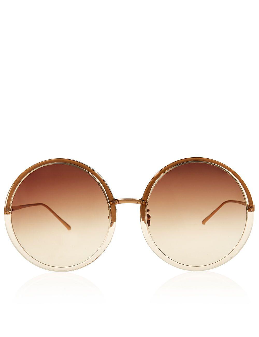 Oversized Round-frame Rose Gold-tone Mirrored Sunglasses - Metallic Linda Farrow 0HL9LwGC