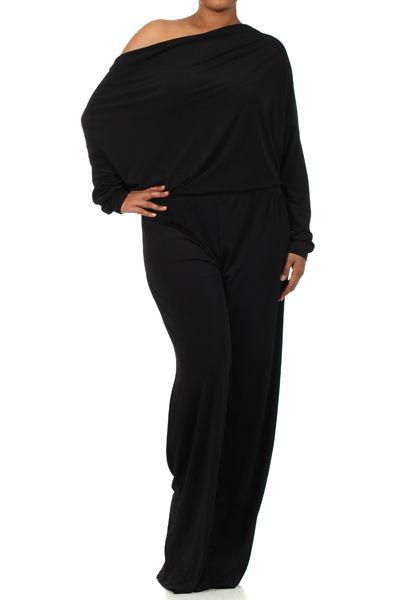 Plus Size Black Off The Shoulder Long Sleeve Jumpsuit   Sleeve ...