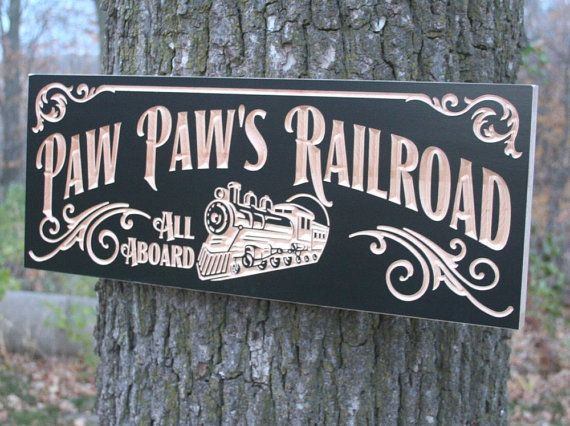Personalized Man Cave Signs Etsy : Railroad sign anniversary gift for men personalized man cave