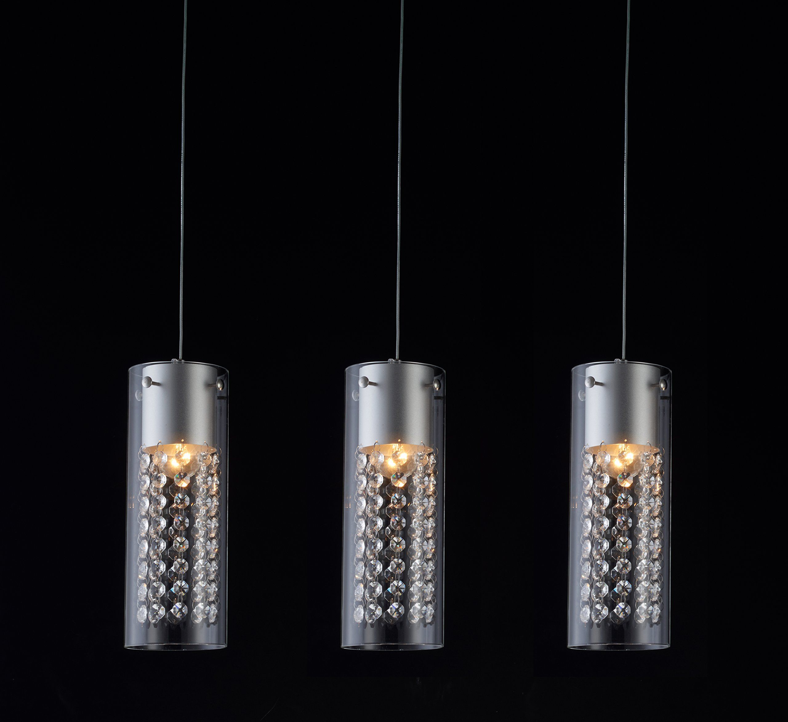 Lightess Chandelier Crystal Glass Cylinder Pendant Light Modern Flush Mounted