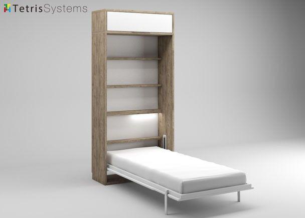 Detalle cama abatible vertical habitaciones pinterest camas abatibles camas y altillo - Camas muebles plegables ...