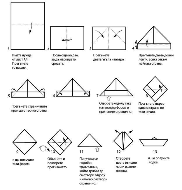 как се прави хартиена лодка - оригами