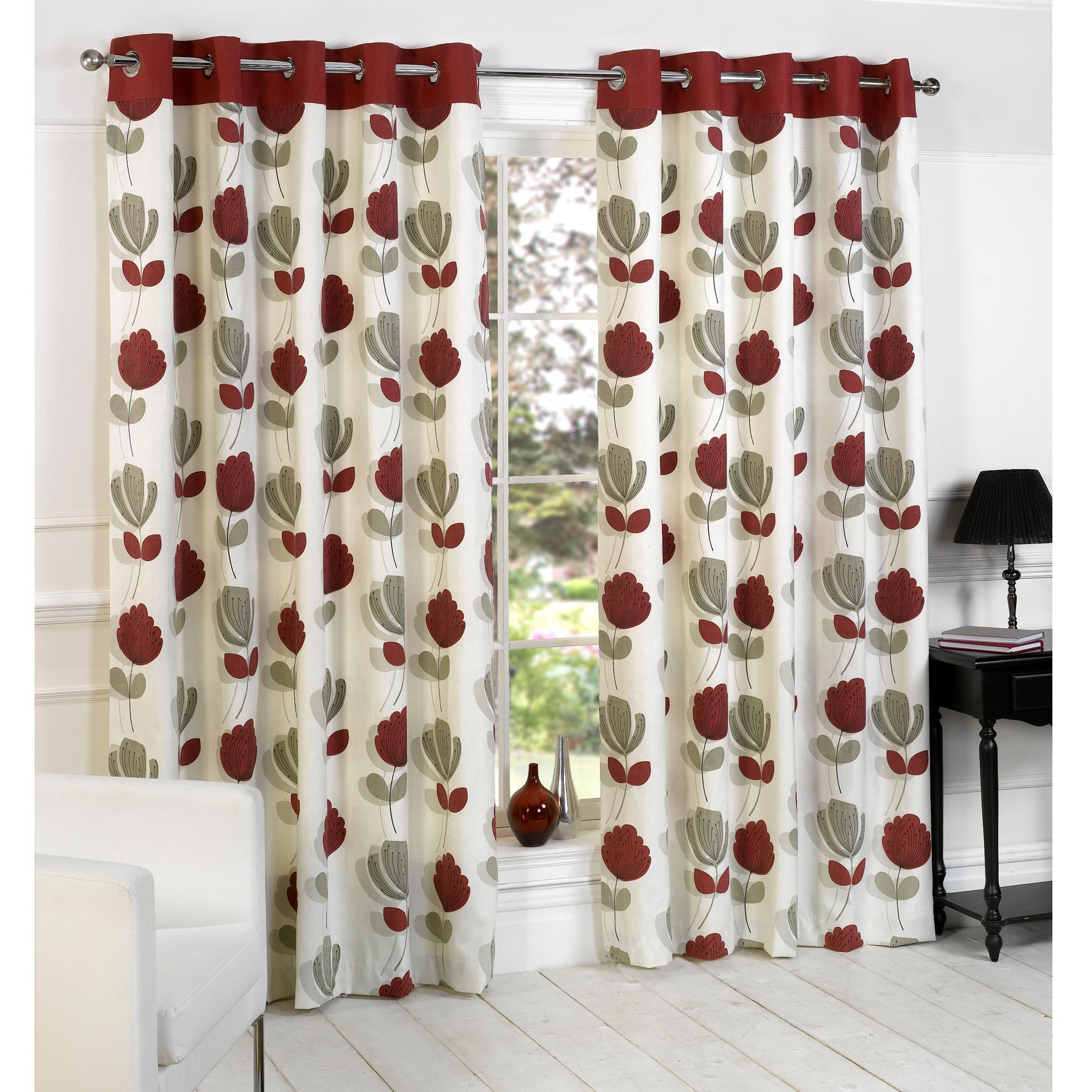 Lotti Modern Floral Print Eyelet Curtains Cream Red Cortinas
