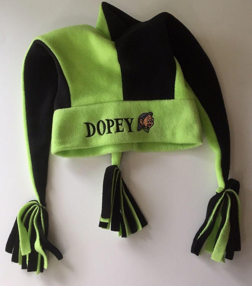 bae904de0 Disney Dopey Hat Jester Mardi Gras Green Black Fleece Embroidered ...
