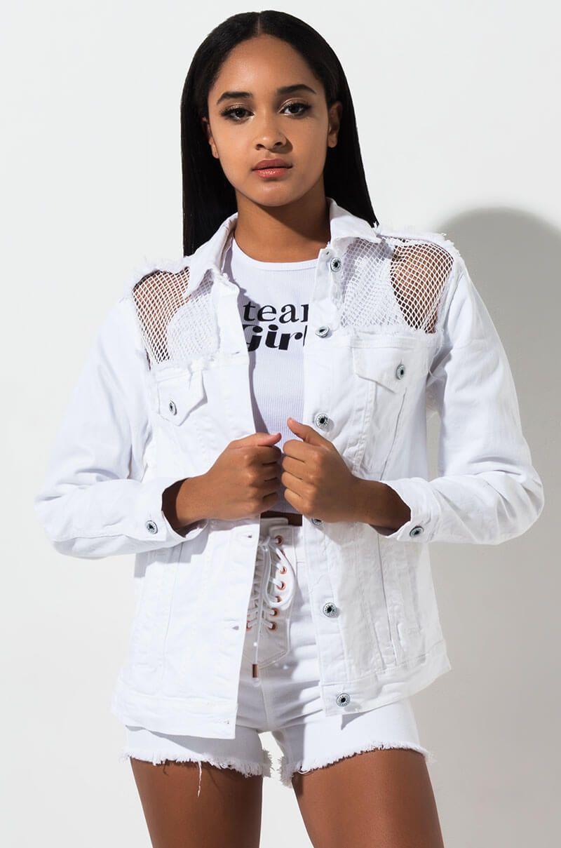 Summer Dreaming Mesh Cutout Denim Jacket White Bomber Jacket Jackets White Jean Jacket Outfits [ 1209 x 800 Pixel ]