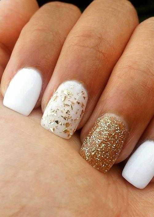 white and gold acrylic nails - White And Gold Acrylic Nails Nail Art Designs Pinterest Nails