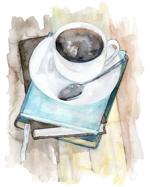 "Photo of Coffee Mug Painting – Original Watercolor Print, ""Relax"", Kitchen Decor, Coffee Cup, Books, Coffee Art"